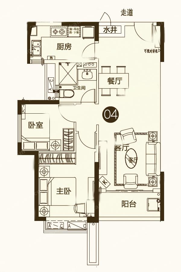 14-15号楼一单元04户型
