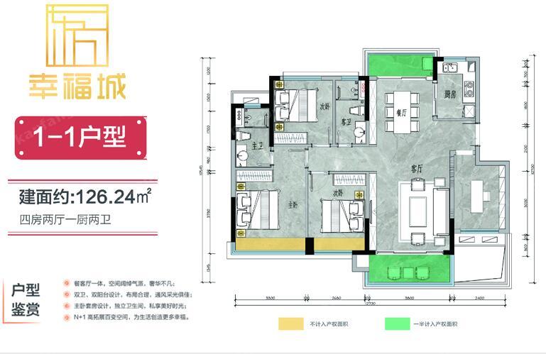 1-1户型 四房两厅两卫 建筑面积:126㎡
