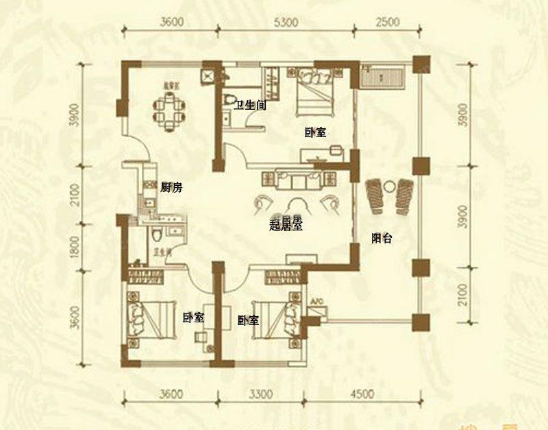 D户型-3房2厅