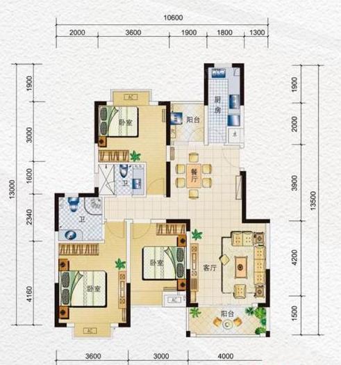 海南水岸名都A1户型3室2厅2卫