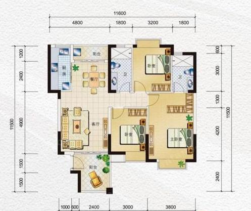 海南水岸名都D1、J1户型3室2厅2卫