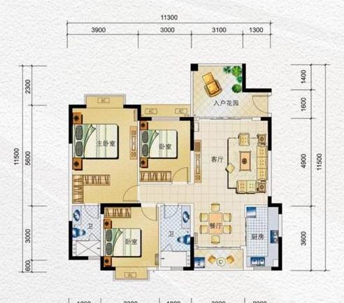 海南水岸名都E1户型3室2厅2卫