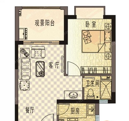 珍珠湾·风情小镇B户型1室1厅1卫1厨-55.05㎡