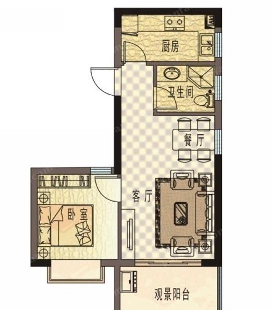 珍珠湾·风情小镇C户型1室2厅1卫1厨-59.15㎡