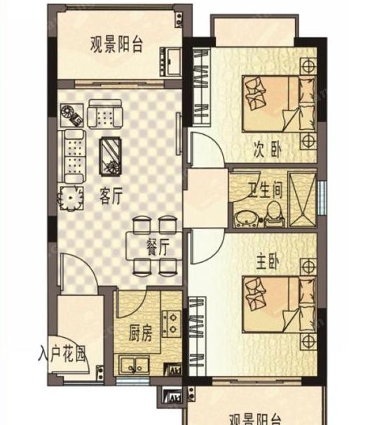 珍珠湾·风情小镇A户型2室2厅1卫1厨-80.96㎡
