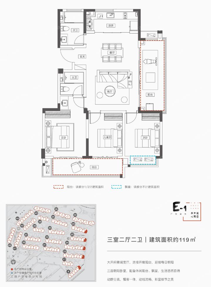 融创无忌海 E-1户型 3室2厅2卫 119㎡