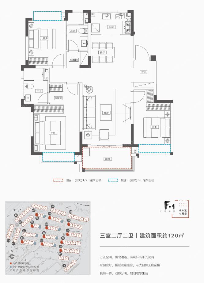 融创无忌海 F-1户型 3室2厅2卫 120㎡